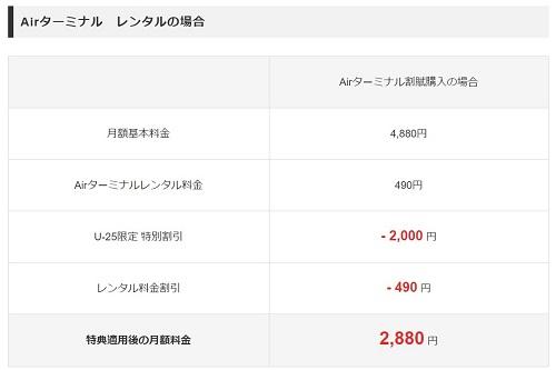 U25限定でソフトバンクエアーが月額2880円