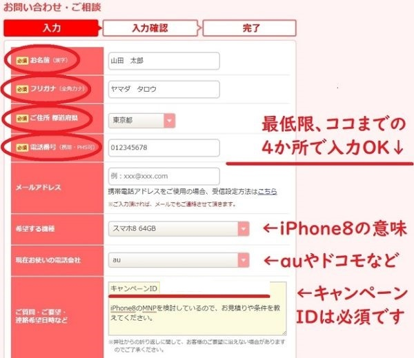 おとくケータイ.netの申込み手順