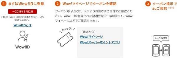 wowmaのauクーポン利用方法