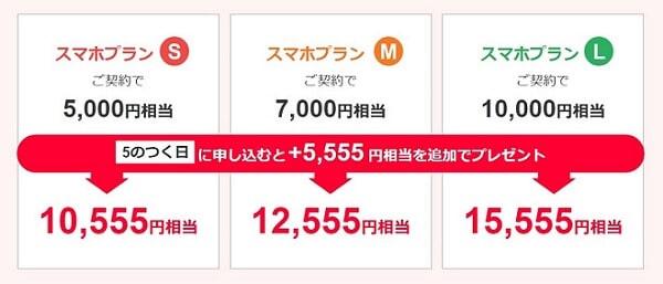 ワイモバイルのプランLなら、PayPayボーナスライトが最大15,555円分貰える