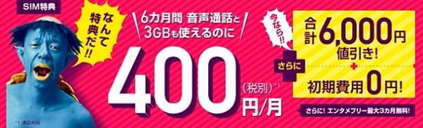 BIGLOBEモバイルの激安キャンペーン(期間限定)
