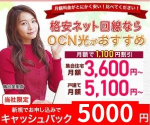 OCN光をNEXTで申込むとキャッシュバック5000円