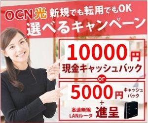 OCN光のキャッシュバックが1万円還元