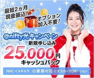 ニフティ光のキャッシュバックが25000円