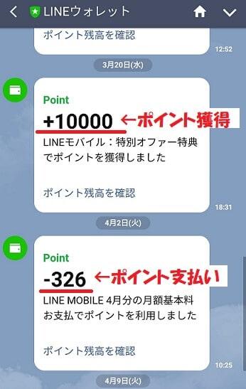 LINEモバイルのポイント獲得と支払いイメージ