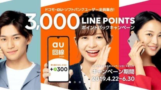 今だけLINEモバイルへMNP乗換えで3千円ポイント還元中