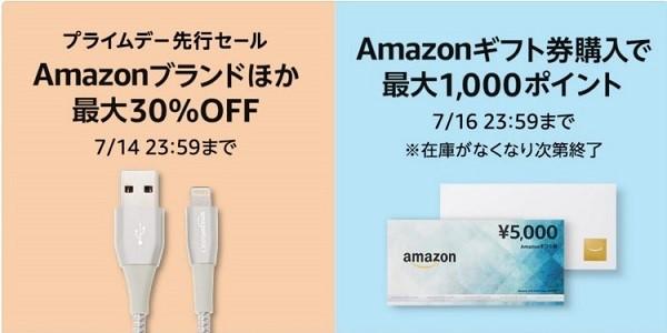 Amazonギフトを5000円購入で最大1000ポイント還元