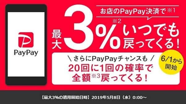 paypayの通常還元ポイントは3%