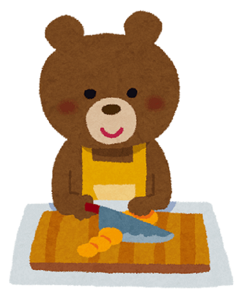 Clova Frindsを聞きながら料理するクマ