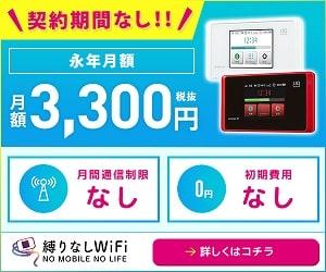 縛りなしwifiなら3300円