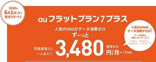 auフラットプラン7プラスは月額5480円