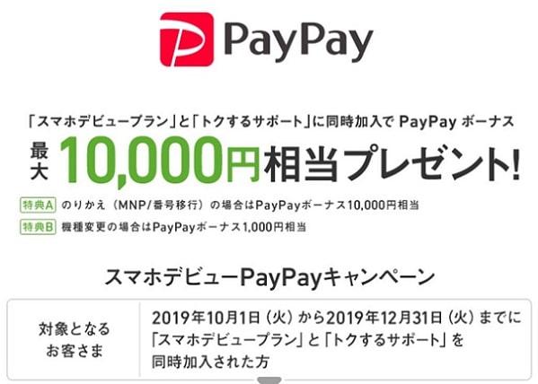 ソフトバンクのスマホデビュープラン加入でpaypay10000円プレゼント