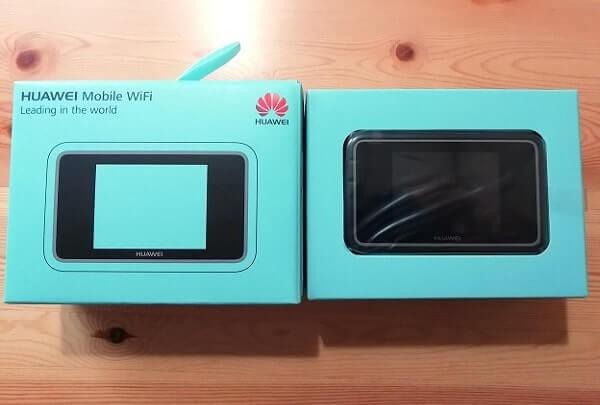 WiFiルーターE5383s-327の箱や外観