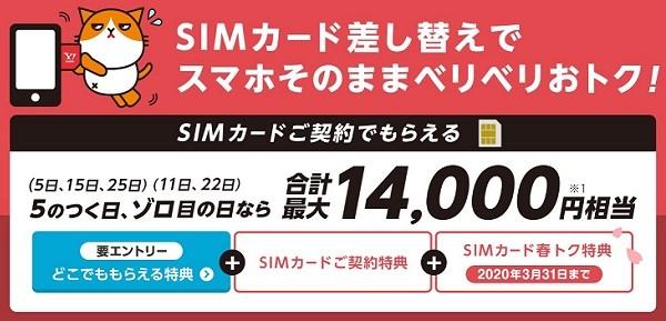 Yahoo!モバイルのSIMカードキャンペーン
