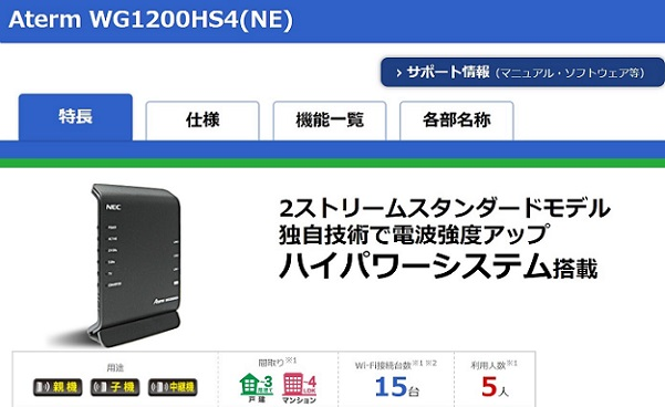 Aterm WG1200HS4(NE)