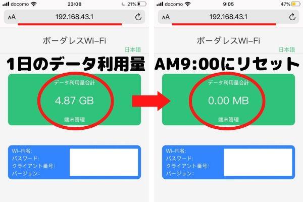 hi-ho Let's Wi-Fiのデータ利用量がリセットされるタイミング