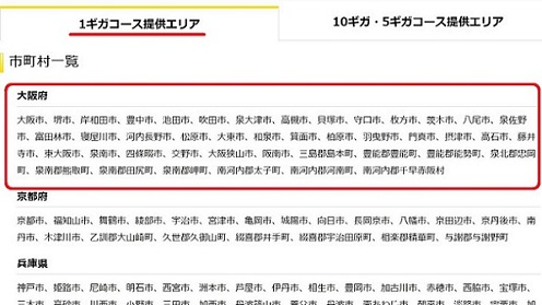 大阪でEO光の1ギガコース提供エリア
